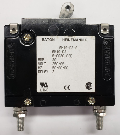 AM1S-D3-A-0030-02E, Eaton Heinemann circuit breaker, AM1S series, single pole, 30 amps, stud mount