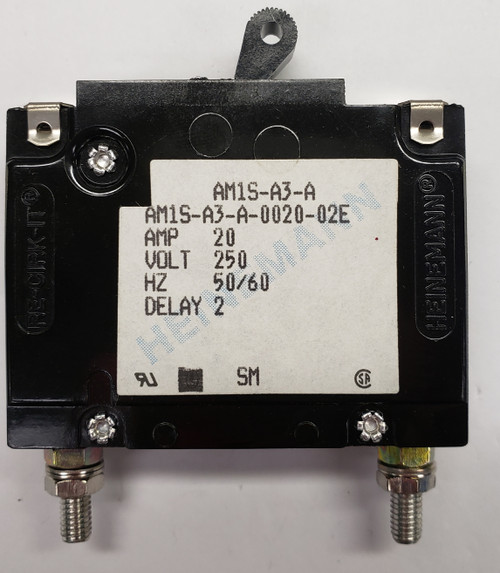 Eaton Heinemann circuit breaker, AM1S series, single pole, 20 amps, stud mount, AM1S-A3-A-0020-02E