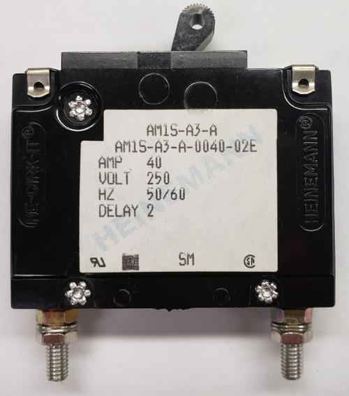 Eaton Heinemann circuit breaker, AM1S series, single pole, 40 amps, stud mount, AM1S-A3-A-0040-02E