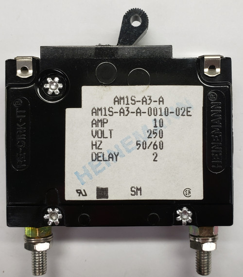 Eaton Heinemann circuit breaker, AM1S series, single pole, 10 amps, stud mount, AM1S-A3-A-0010-02E