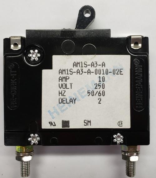 Eaton Heinemann circuit breaker, AM1S series, single pole, 10 amps, stud mount, AM1S-A3-A-0010-02E