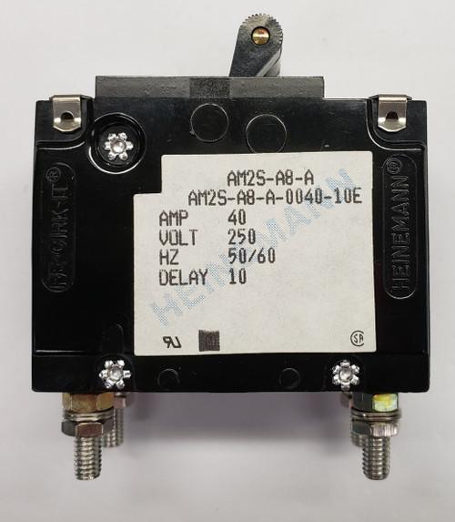 Eaton Heinemann circuit breaker, AM2S series, double pole, 40 amps, stud mount, AM2S-A8-A-0040-10E