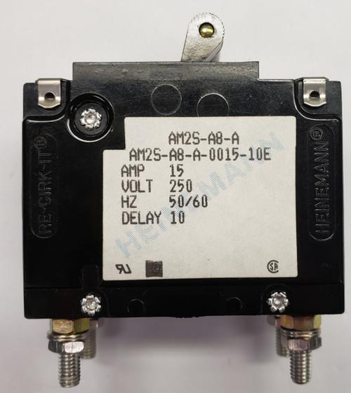 Eaton Heinemann circuit breaker, AM2S series, double pole, 15 amps, stud mount, AM2S-A8-A-0015-10E