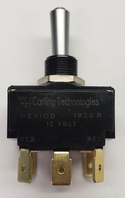 Carling, Lit Tip Toggle LT-2561-610-012-XAS1, satin chrome bat, red tip, .250 quick connects, maintained, double pole, spade terminals with jumpers, dependent red 12 volt lit tip toggle switch,028-2893,032-0309,40400006