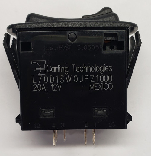 L70D1SW0J-1PZ00-0, Carling, L series, locking rocker switch, all black, sptt, triple throw, progressive locking rocker, progressive circuit