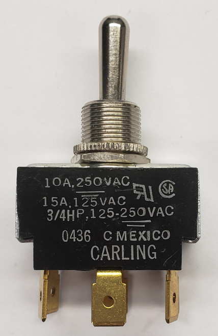6GM5M-72, carling, momentary toggle switch, spring return to center off position, quick connect terminals, double pole, spring loaded, toggle switch