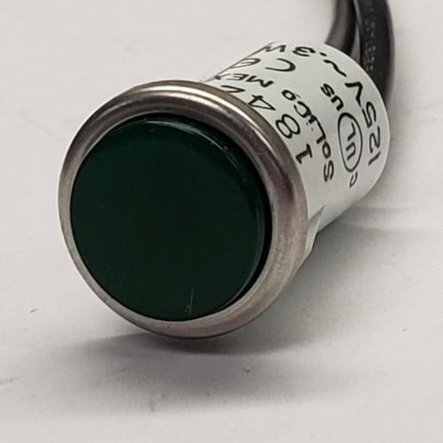 2950-1-11-37140, indicator light, 125 volt, neon, round, Solico, green indicator, panel mount indicator, 17-3396