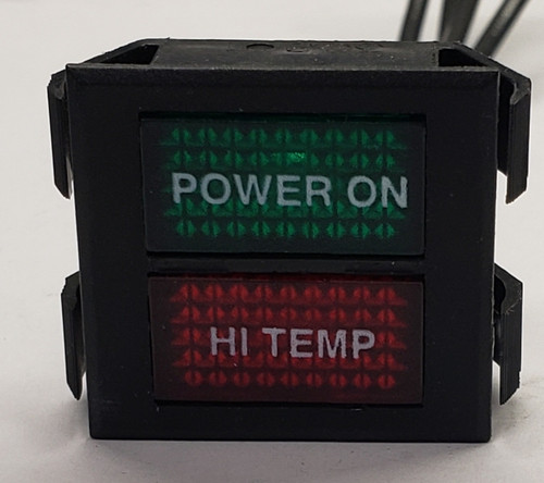 indicator light, 125 volt, neon, rectangular, dual lens, red and green, wire leads, Solico, 2650-1-50-45341.xxx1, power on, hi temp, custom imprint