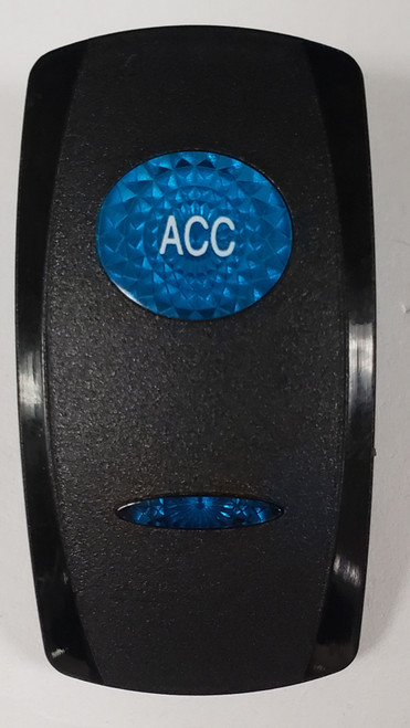 VVGWC1T-100, ACC Switch Cover, Black with 1 Blue Oval Lens, 1 Blue Bar Lens, Carling, rocker switch actuator, accessory, accy