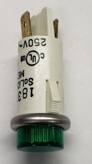 indicator light, 250 volt, neon, green, round, 3052-3-11-38340, solico
