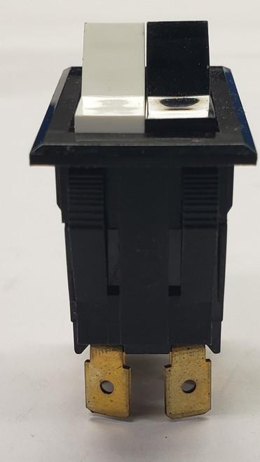 TIGL61-2L-D-WH-BL-NBL, dual rocker switch, 2 single pole rockers in a double pole base, on on, dpdt, alternating rocker switch, carling