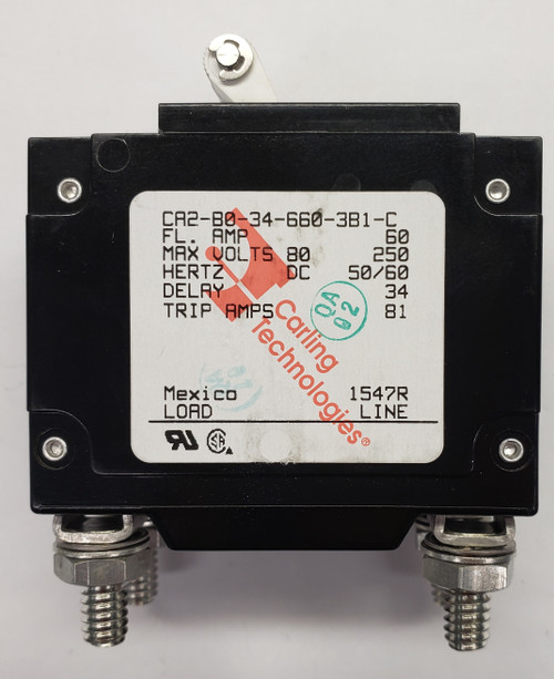 CA2-B0-34-660-2B1-C, Carling, C series, double pole circuit breaker, stud terminals,  042-3025, 60 amp circuit breaker
