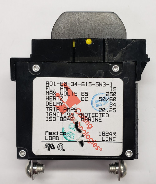 AO1-B0-34-615-5N3-I, marine grade circuit breaker, 15 amp, carling, a series, ignition protected, ISO 8846 breaker, single pole 15 amp breaker, rocker guard, yellow, A01-X0-05-260-X63-I