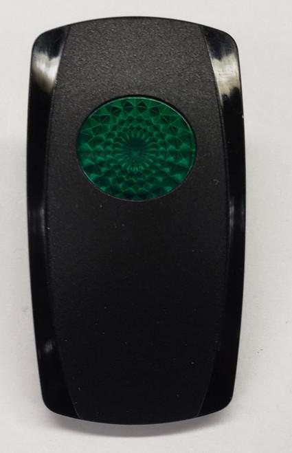 VVGJC00-000, Carling V Series Rocker actuator, one green oval lens, contura 5