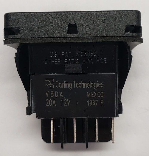 switch, marine, auto, rocker, double momentary, single pole, sealed, Carling, V Series, 1 independent lamp, V8DAA604
