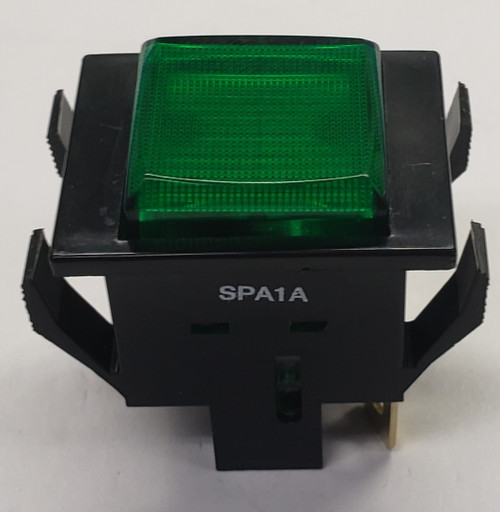 spa1a4m9, alternating action, square push button, push on push off, spst, s series, oslo, green cap,