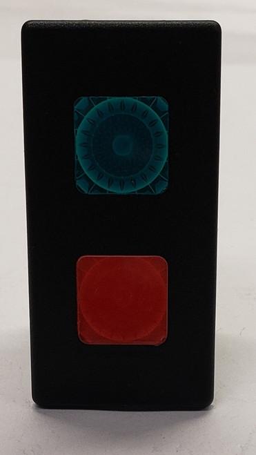 12 volt, indicator light, Carling, VP series, red & green lenses, incandescent, rectangular, VP1, VP166-B11KR