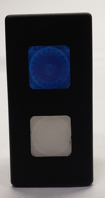 VP166-B119W-00000 Carling Rectangular 1 Blue, 1 white Lens 12 Volt Indicator Light , incandescent, VP series,