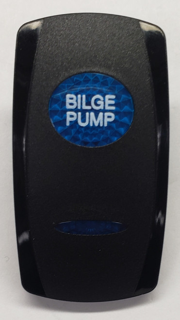 VVGWC, Bilge Pump Switch Cover, Black with 1 Blue Oval Lens, 1 Blue Bar Lens, Carling, rocker switch actuator, bilge, pump, bilge switch cover