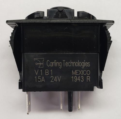 V1B1BD0B Carling V Series Rocker Switch, On-Off, Single Dependent 24 Volt Red LED,RCV-00111920