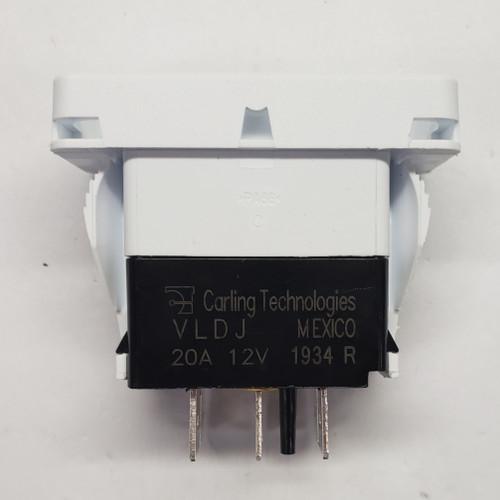 vldjsoo2, Carling rocker switch, double pole, double momentary, spring return to off position, V Series, no lamps, raised bracket, VLDJS002, white base, contura x, rocker switch,RCV-00105689