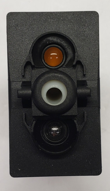 VBD2YN6B, Carling V Series rocker switch, momentary, double pole, 2 independent lamps, 1 amber LED & 1 incandescent lamp, 00017132, D1101