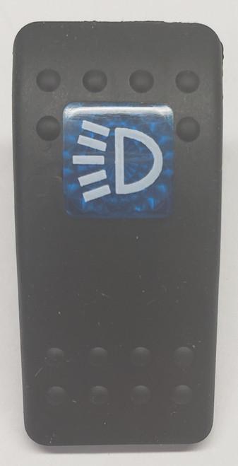 Carling, v series, soft black, 1 blue square lens, switch cap, actuator, VVAWBDF-100, Contura II, side marker light, switch cap