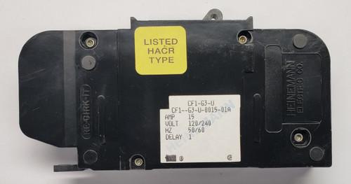 cf1-g3-u-0015-01a, heinemann, circuit breaker, eaton, cf1 series, magnetic breaker, 15 amps