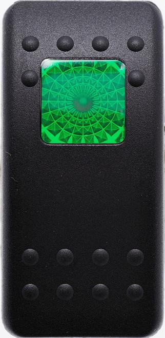 Carling, V Series, switch cap, actuator, soft black,  1 green square lens, Contura II, VVAKB00-000