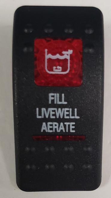 Carling V Series rocker switch cap, actuator, dual red lens, switch cap, marine, 033-3205, vvascxx