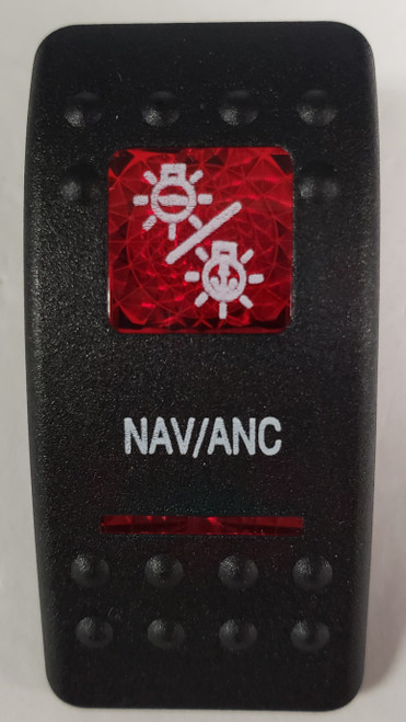 Carling V Series rocker switch cap, actuator, dual red lens, switch cap, marine, VVASCXX, 033-3201
