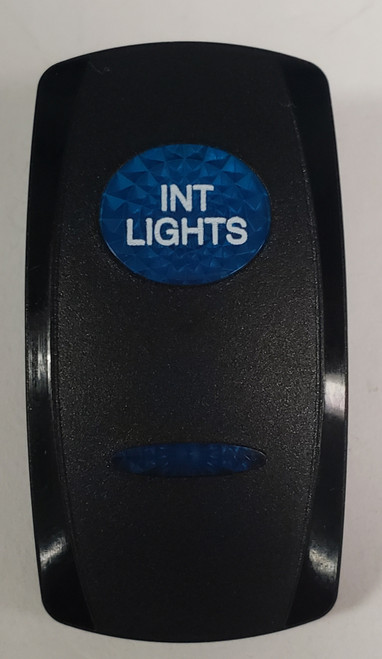 Interior Lights Switch Cover, Black with 1 Blue Oval Lens, 1 Blue Bar Lens, Carling, rocker switch actuator, 2 blue lens, int lights, marine switch cover,  vvgwc