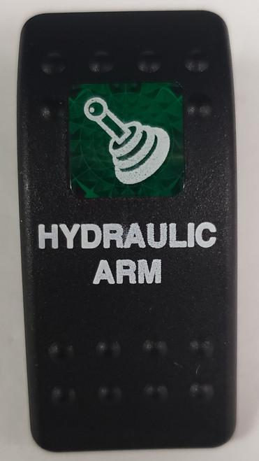 Carling, V Series, rocker switch cap, actuator, hard black,  1 green square lens, Contura II, VVAKC00-000, LL-7464-63, hydraulic arm