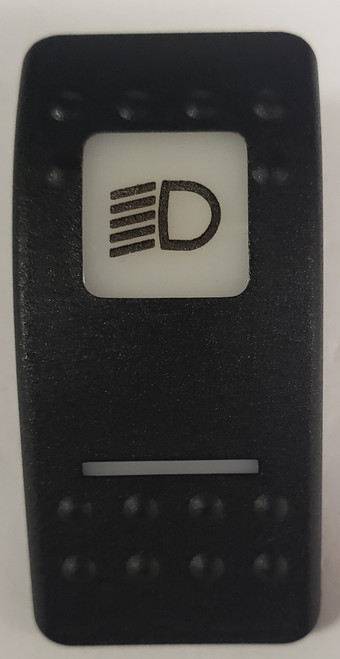 Carling, v series, switch cap, actuator, hard black, 1 white square lens, 1 white bar lens, VVAAC48-100, headlight lowbeam legend