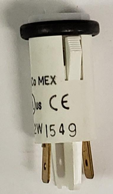 indicator light, 14 volt, white, incandescent, cylinder translucent lens, quick connects, Solico, 3035-3-11-37160