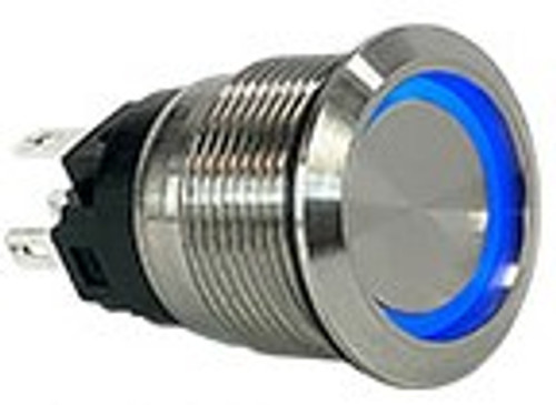 AV1-1A211E-R00, stainless steel, 19 mm. momentary, flush button, no & nc, 2 circuit, anti vandal, security push button, blue ring push button