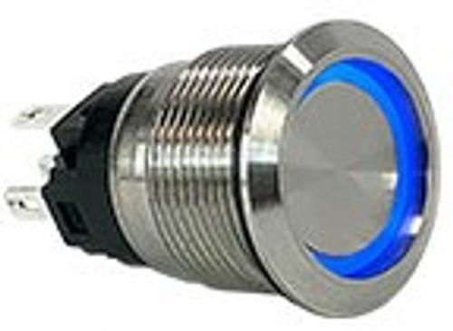 AV1-1B211E-R00, stainless steel, 19 mm. latching, flush button, no & nc, 2 circuit, anti vandal, security push button, blue ring push button, push on, push off