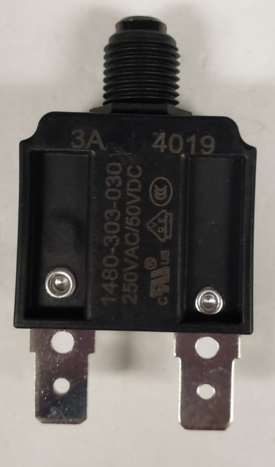 1480-303-030, mechanical products 3 amp push to reset circuit breaker, black button, spade terminals, 1480 series, mechanical products, marine circuit breaker
