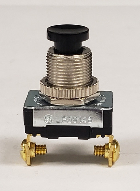 18650-s blk, Single Pole, On-Momentary Off, Horn Push button switch, black button, normally closed, screw terminals, momentary