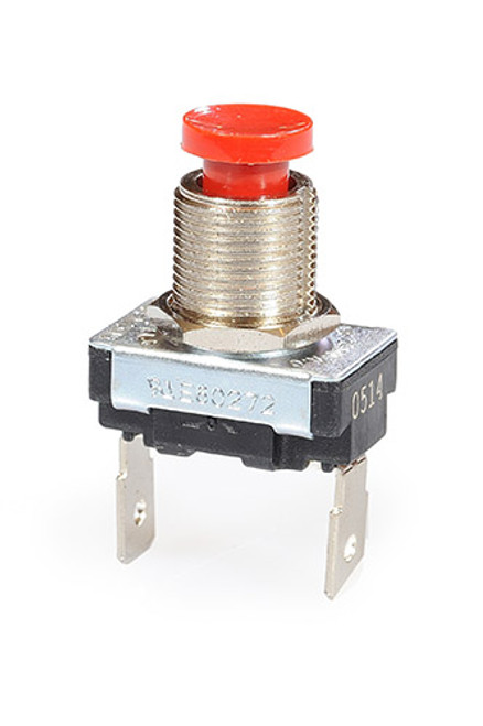 single pole push button, off - momentary on, red horn button, quick connect terminals, Gold Contacts
