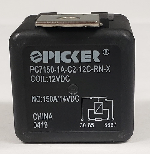 gz130027-001, automotive relay, sealed, spade terminals, normally open,12 volt coil, 150 amp relay, metal bracket, internal resistor, PC7150-1A-C2-12C-RN-X