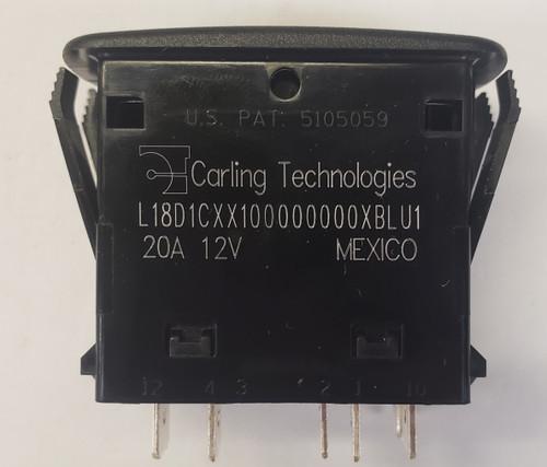 L18D1CXX1-00000-000-XBLU1, Double Momentary, Rocker Switch, 2 blue Leds, spdt, spring return to center off, 3 position, spdt, l series, carling, l18