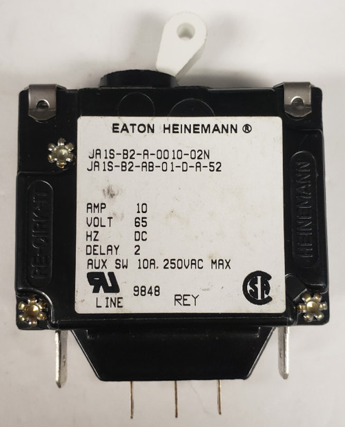 JA1S-B2-A-0010-02N, 10 amp, eaton, heinemann, circuit breaker with aux switch, JA1S-B2-AB-01-D-A-52