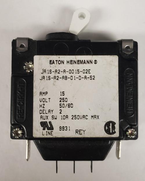 JA1S-A2-A-0015-02E, 15 amp, eaton, heinemann, circuit breaker with aux switch, JA1S-A2-AB-01-D-A-52
