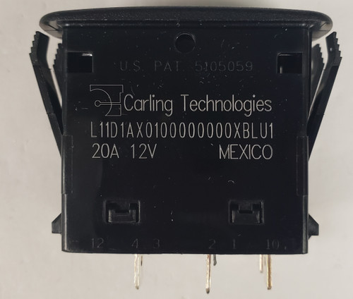 Carling, L Series, L11D1AX01, blue led, on off, single pole, spst, spade terminals