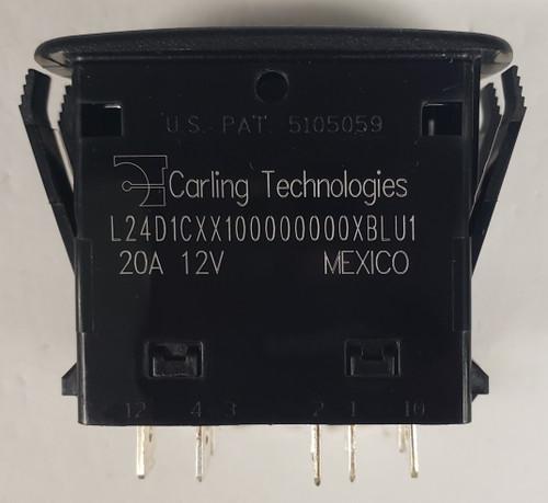 L24D1CXX1, carling, l series, dpdt, rocker switch, 2 position, on-on, 2 blue leds