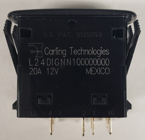 L24D1GNN1, carling, l series, dpdt, rocker switch, 2 amber leds, on-on, maintained