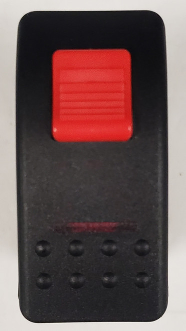 Locking Rocker switch, Carling, V Series, single pole, on off, independent lamp, red lens, lock on actuator, full switch and cap, protects from accidentally turning it on, V1D2HW6B-APD, red lock, locking rocker, safety rocker
