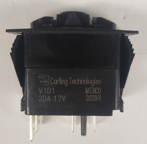 V1D1GHHB, switch, marine, auto, rocker, on-off, single pole, sealed, Carling, V Series, two lamps, lit switch, LED, green leds, green lamps