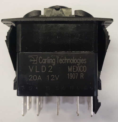 vld2u66b, Carling rocker switch, double pole, double momentary, spring return to off position, V Series, 2 independent lamps